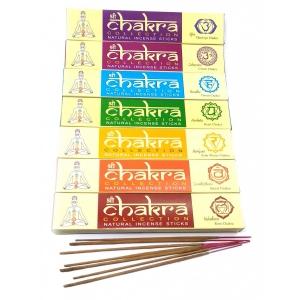 Благовония CHAKRA Collection — это набор из 7-х различных натуральных светлых благовоний с приятным запахом.Каждый запах соответствует определенной чакре. Вес каждой упаковки — 15 гр. Общий вес 7*15 гр